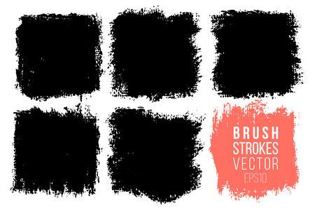 Ensemble d'images vectorielles de gros coups de pinceau dessinés à la main, taches pour les toiles de fond. Arrière-plans artistiques monochromes à une couleur dessinés à la main. Les éléments de conception monochrome définissent des formes carrées Vecteurs