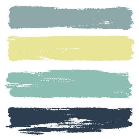 Ensemble vectoriel de coups de pinceau dessinés à la main, taches horizontales pour les toiles de fond. Ensemble d'éléments de conception monochrome. Arrière-plans artistiques dessinés à la main de couleur noire de forme rectahgulaire.