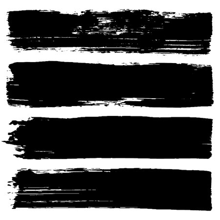 Vector set of hand drawn brush strokes. One color monochrome graphic resources. Grunge roller, black stripes isolated, ink lines