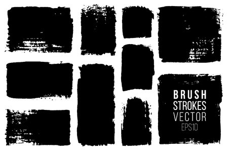 Grunge brush painted spots. Vector ink brush strokes. Distressed banners, paintbrush collection. Modern teextured rectangular shapes set