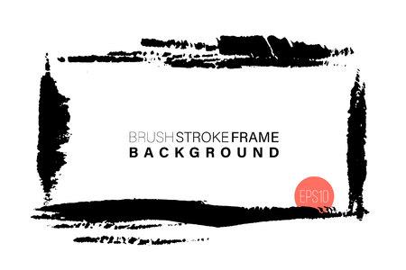 Dibujado a mano grunge marco de forma rectangular. Trazos de pintura negra como recursos gráficos. Fondo pintado con pincel de tinta con espacio de copia Ilustración de vector