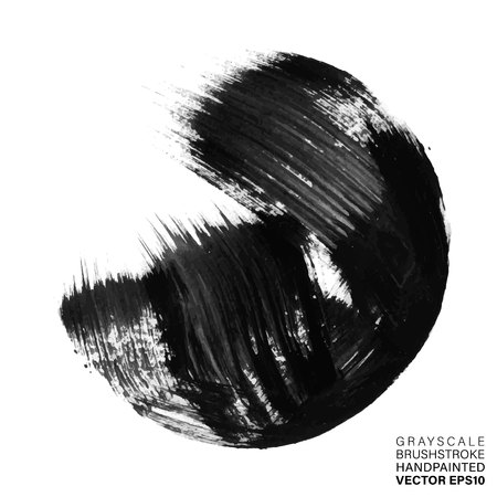 Grayscale hand painted stroke. Vector multicolor artistic stroke for backdrop. Brush painted ink circle. Grungy paint spot