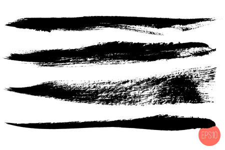 Vector set of hand drawn brush strokes, origins for custom brushes. Monochrome design elements set. Black color artistic hand drawn horizontal shapes.