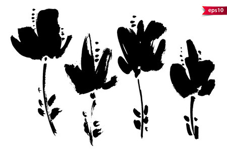 Vector set of ink drawing flowers, stems and leaves, monochrome artistic botanical illustration, isolated floral elements, hand drawn illustration. Floral elements in monochrome rough strokes Vectores