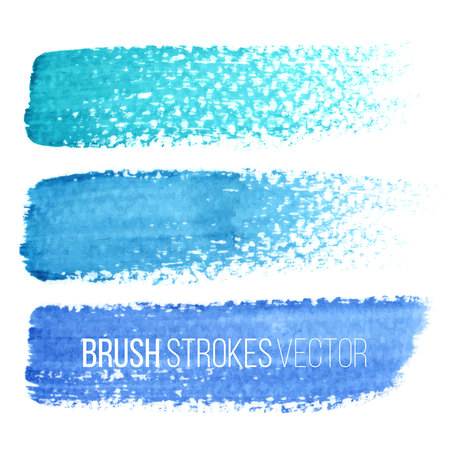 Vector hand drawn watercolor brush stains set. Colorful painted strokes. Blue color hand drawn stripes for background