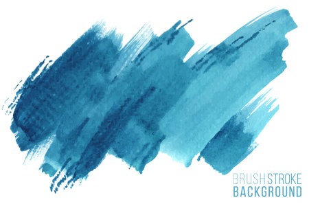 Colorful painted stroke. Vector hand drawn watercolor brush stain. Blue color hand drawn background Ilustração Vetorial