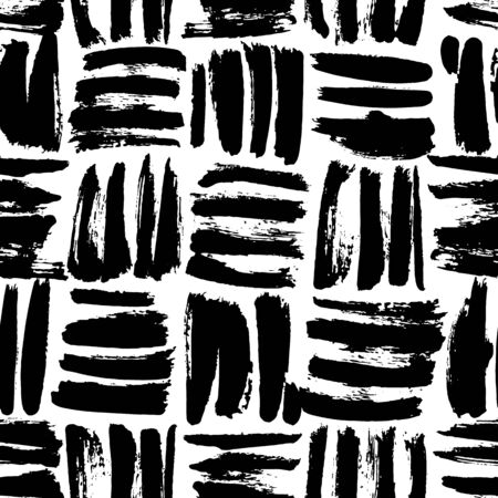 Vector seamless pattern. Repeatable texture with black ink drawn strokes. Artistic monochrome background. Black and white baackdrop.