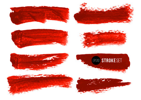Vector set of hand drawn brush strokes. Red color artistic hand drawn backgrounds and graphic resources.  イラスト・ベクター素材