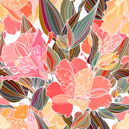 Vector seamless pattern with hand drawn plants. Summer botanical background. Alstroemeria hand drawn bright multi color flowers repeatable wallpaper.