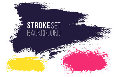 Vector set of hand drawn brush strokes, horizontal stains for backdrops. Multi color design elements set. Bright color artistic hand drawn backgrounds rectagular shape. Stockfoto - 129788631