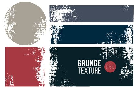 Grunge collection, badge or lable set . Vector distress textures in rectangular and round shapes. Textured background set. Иллюстрация