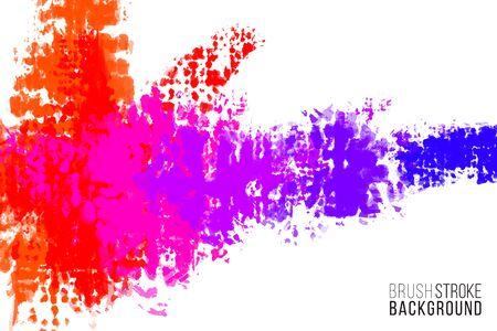 Künstlerische Kulisse. Vektor mit Pinselspritzern. Pinselfarbe-Look-Hintergrund mit bunten handgemalten Flecken. Regenbogenfarben Hintergrund.