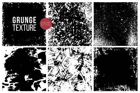 Grunge textures set. Backgrounds. Monochrome abstract grain surfaces for design.