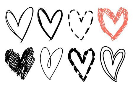 Hand drawn heart set. Rough marker hearts isolated on white background. Vector elements for graphic design.