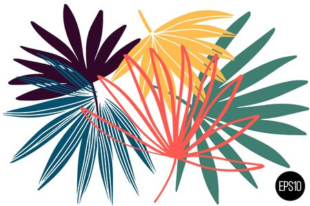 Vector set of drawn palm leaves, colorful artistic botanical illustration, isolated floral elements, hand drawn illustration. Çizim