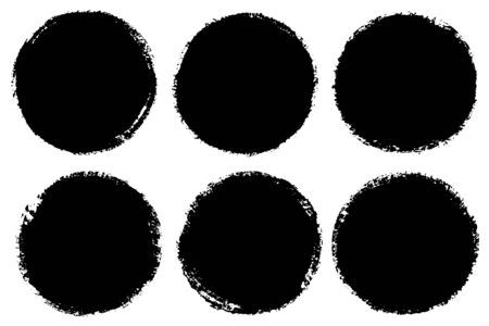 Vector set of hand drawn circles for backdrops. Monochrome artistic hand drawn backgrounds. Hand drawn textured edge stains round shape set.