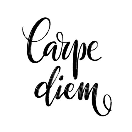 Hand drawn vector lettering. Words Carpe Diem by hand. Isolated vector illustration. Handwritten modern calligraphy. Inscription for postcards, posters, prints, greeting cards.