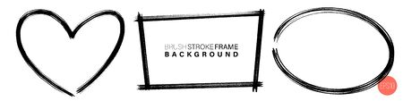 Hand drawn grunge frames various. Black chalk strokes as graphic resources. Black crayon backdrops with copy space. Иллюстрация