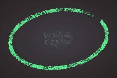 Cadre dessiné avec un crayon. Forme vide de crayon de cire. Image vectorielle du cadre de course dessiné à la main. Forme ovale verte.