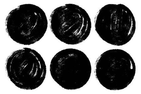 Vector set of hand painted circles for backdrops. Monochrome artistic hand drawn backgrounds. Hand drawn stains round shape set.  イラスト・ベクター素材