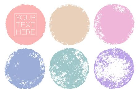 Vector set of hand painted circles for backdrops. Pastelcolors artistic hand drawn backgrounds. Hand drawn stains round shape set. Stock Vector - 131545821