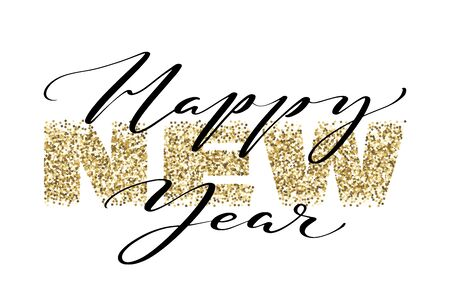 Happy new year hand written words on golden glitter background. New year banner with light effects. Design for holiday greeting cards and invitations.