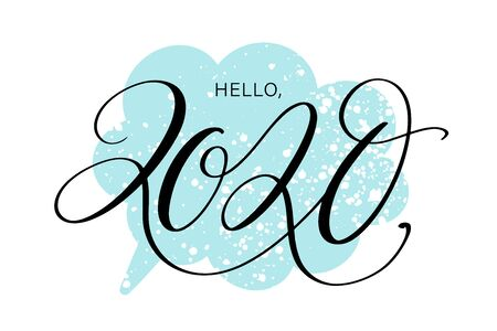 Hello, 2020 by hand. Hand drawn creative calligraphy and brush pen lettering, design for holiday greeting cards and invitations. Stock Vector - 131545851