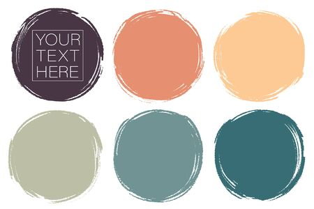 Vector set of hand painted circles for backdrops. Colorful artistic hand drawn backgrounds. Hand drawn stains round shape set. Illustration