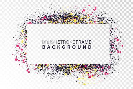 Hand drawn grunge frame rectangular shape. Various colors splaches with copy space. Abstract artistic horizontal background. Illustration
