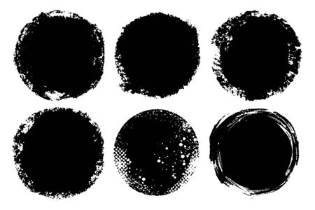 Vector set of hand painted circles for backdrops. Monochrome artistic hand drawn backgrounds. Hand drawn stains round shape set. Illustration