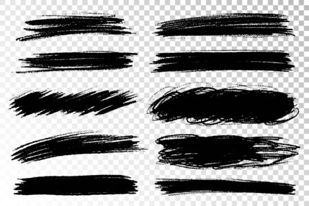 Vector set of hand drawn brush strokes and stains. One color monochrome artistic hand drawn backgrounds.