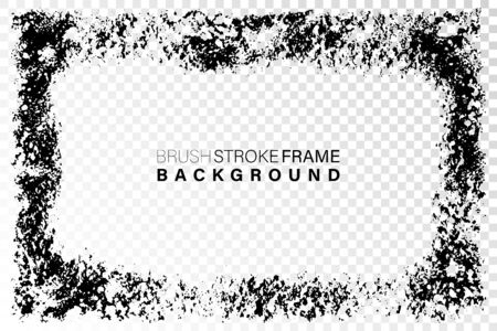 Hand drawn grunge frame rectangular shape. Black textured paint as graphic resources. Ink brush painted rectangular shape with copy space. Illustration