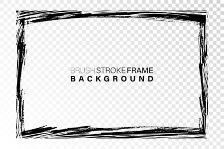 Hand drawn grunge frame rectangular shape. Black paint strokes as graphic resources. Ink brush painted backdrop with copy space.