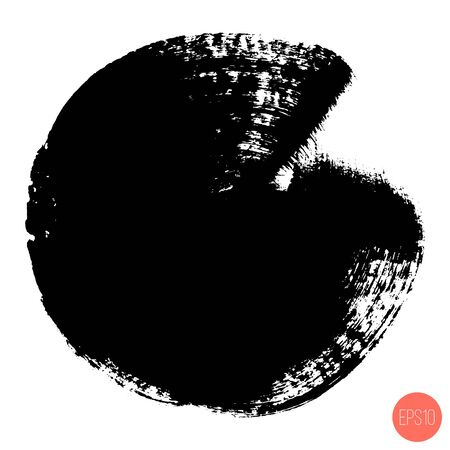 Vector hand painted circle for backdrops. Monochrome artistic hand drawn background. Hand drawn stain round shape.