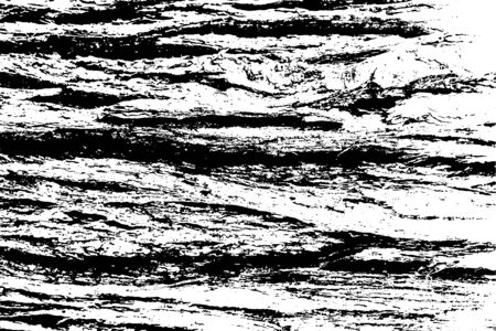 Distressed overlay texture of rough surface, cracked wood, tree bark. Grunge background. One color graphic resource Illustration