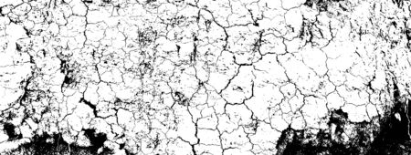 Distressed overlay texture of rough surface, dry soil, cracked ground. Grunge background. One color graphic resource Vettoriali