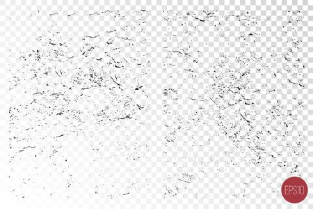 Distressed overlay texture set of rough surface, dry soil, cracked ground. Grunge background. One color graphic resource. Illustration