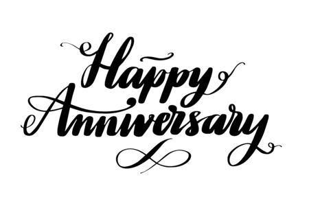 Happy Anniversary words written by hand. Hand drawn vector lettering. Isolated vector illustration. Handwritten modern calligraphy. Inscription for postcards, posters, prints, greeting cards.