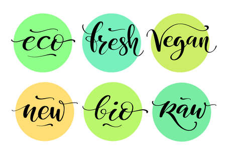 Healthy food label set. Product labels or stickers. Eco, fresh, vegan, new, bio, raw words by brush on colorful circle backgrounds. Ilustração