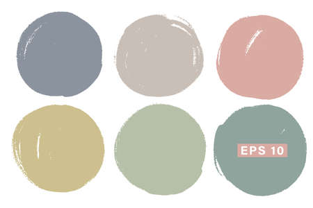 Vector set of hand painted circles for backdrops. Pastel colors artistic hand drawn backgrounds. Hand drawn stains round shape set.  イラスト・ベクター素材