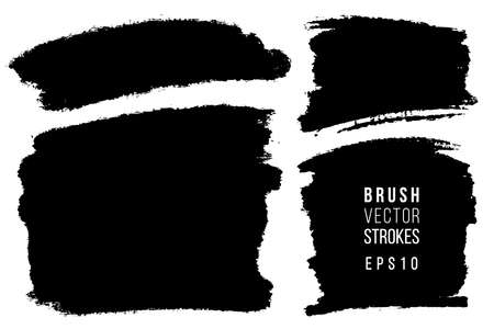 Vector set of hand drawn brush strokes, stains for backdrops. Monochrome design elements set. One color monochrome artistic hand drawn backgrounds