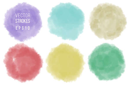 Set of watercolor shapes. Watercolors blobs. Colorful watercolor hand painted circles isolated on white. Illustration for artistic design. Round stains, blobs of different color. Ilustração