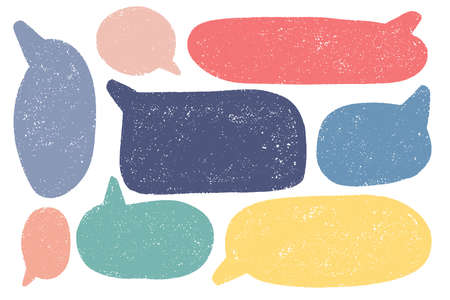 Hand drawn callout clouds. Speech bubbles various shapes and colors . Vector textured elements for designs.