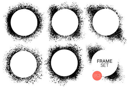 Hand drawn round shape frame set. Black paint splashes as graphic resources. Set of ink painted backdrops with copy space. Çizim