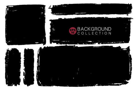 Vector set of hand drawn rectangular shapes, stains for backdrops. Monochrome design elements set. One color monochrome artistic hand drawn backgrounds.