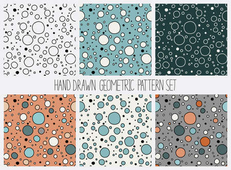 Vector seamless pattern set. Abstract geometric backgrounds with circles various colors. Wallpaper, cloth design, fabric, paper, cover, textile.