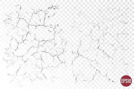 Natural cracks backgrounds. Vector overlay textures of cracked surface. One color graphic resources. Illusztráció