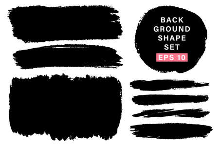 Vector set of hand drawn various shapes, stains for backdrops. Monochrome design elements set. One color monochrome artistic hand drawn backgrounds.