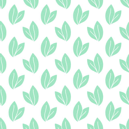 Vector seamless pattern with leaves, repeatable minimalistic background. Repeatable botanical backdrop. Green geometric tea leaves motif.