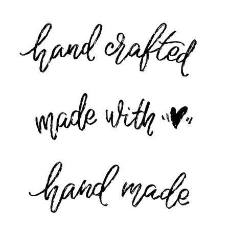 Set of hand written labels. Hand crafted, made with love, hand made words by hand. Modern lettering dor tags. Illusztráció